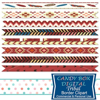 Tribal Native Indian Ribbon Borders