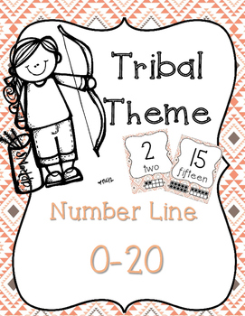 Tribal Theme Number Line 0-20 CORAL & NAVY