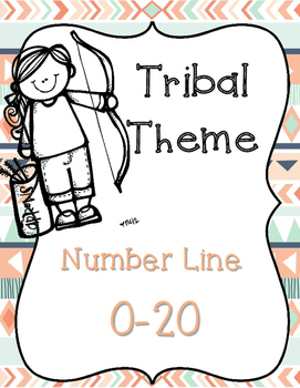 Tribal Number Line 0-20 Coral & Navy Themed