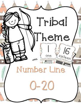 Tribal Theme Number Line 0-20 Teepee and Arrow Print