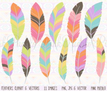 Tribal Pastel Feather Clipart Clip Art - Commercial and Personal Use