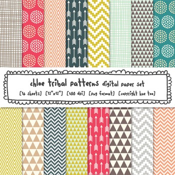 Tribal Patterns Digital Backgrounds, Chevron, Polka Dots, Arrows, Triangles