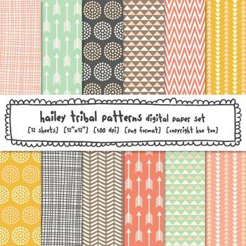 Tribal Patterns Digital Paper Set: Pink, Aqua, Turquoise, Mustard Yellow