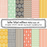 Tribal Patterns Digital Paper Set: Pink, Aqua, Turquoise,