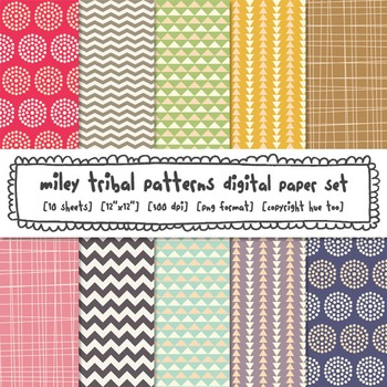 Tribal Patterns Digital Paper: Chevrons, Triangles and Polka Dots