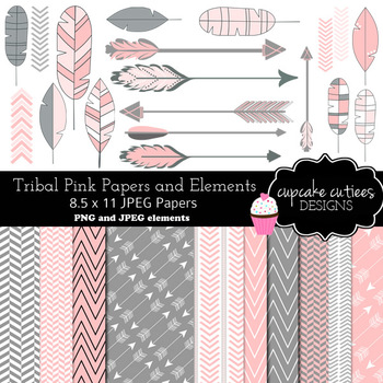 Tribal Pink and Gray Digital Clip Art and Paper Elements