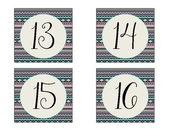 Tribal Print Large Numbered Labels