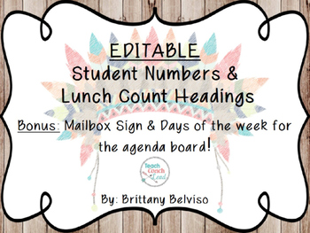 Tribal & Rustic Student Numbers & Lunch Count Headings-EDITABLE