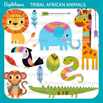 Tribal Safari Animals Clip Art   Safari   Jungle Animals   African Animals