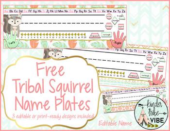 Tribal Squirrel Editable Nameplates - free!