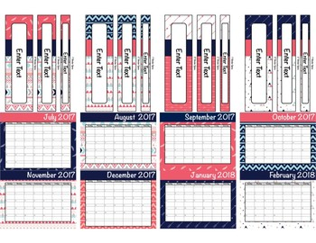 Tribal Teacher Binder 2016-2017 (Covers, Spines, Forms & Calendars) Editable