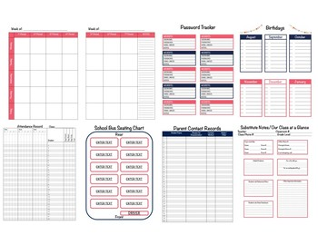 Tribal Teacher Binder 2017-2018 (Covers, Spines, Forms & Calendars) Editable