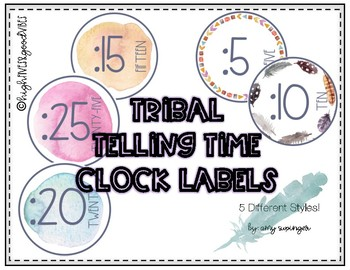 Tribal Telling Time Clock Labels