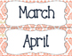 Tribal Theme Calendar Month Headers - Coral & Navy