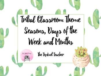 Tribal Theme Classroom Calendar