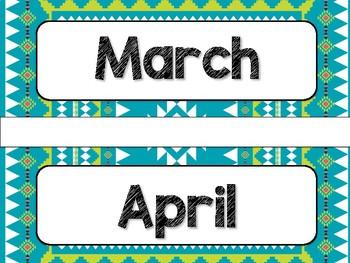 Tribal Theme Classroom Decor: Calendar Headers