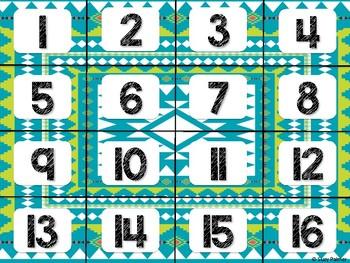 Tribal Theme Classroom Decor: Calendar Numbers