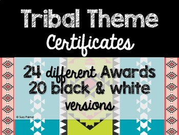Tribal Theme Classroom Decor: Certificates & Awards