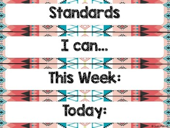 Tribal Theme Classroom Decor: Focus Wall Headers