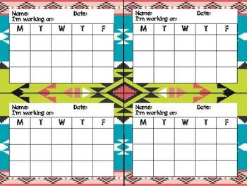 Tribal Theme Classroom Decor: Mini Incentive Charts