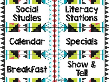 Tribal Theme Classroom Decor: Schedule Cards