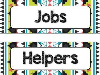 Tribal Theme Classroom Decor: Student Jobs