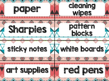 Tribal Theme Classroom Decor: Supply Labels
