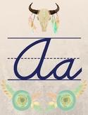 Tribal Theme Cursive Alphabet