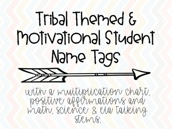 Tribal Themed, Motivational Student Name tags