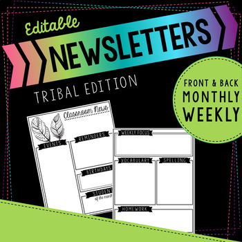 Editable Black and White Tribal Themed Newsletters