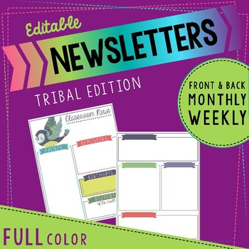 Editable Colored Tribal Themed Newsletters
