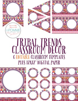 Tribal Trends Classroom Decor EDITABLE Templates Pack Banners Labels