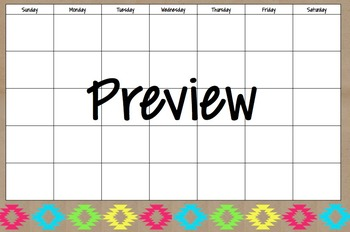 Neon Tribal Calendar Blank - Large