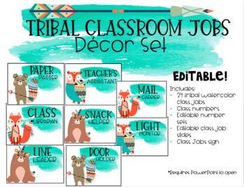 Tribal Watercolor Classroom Jobs Set (Editable)