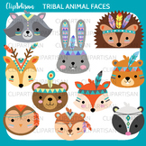Tribal Woodland Animal Clip Art, Forest Animal Faces