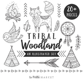 Tribal Woodland Clip Art Set, Summer Animal Set, Tribal Animals Clip Art