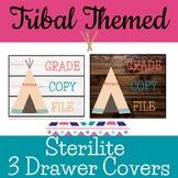 Tribal Woodland Themed Sterilite 3 Drawer Labels farmhouse shiplap