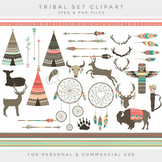 Tribal clipart - teepee feathers clip art deer dreamcatcher buffalo arrows