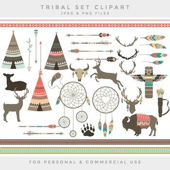 Tribal clipart - teepee feathers clip art deer dreamcatcher buffalo arrows