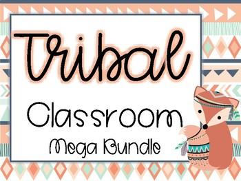 Tribal Classroom Mega Bundle - Navy and Coral