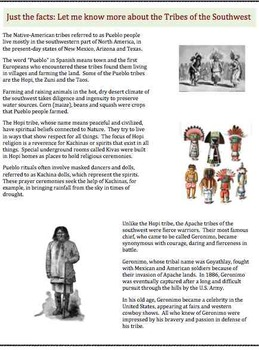 Tribes of the Southwest (5) - Poem, Worksheet and Puzzle