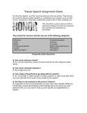 Tribute Speech Guidelines and Brainstorm Graphic Organizer