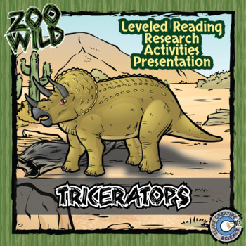 Triceratops -- 10 Resources -- Coloring Pages, Reading & Activities