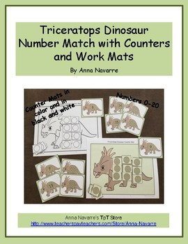 Triceratops Dinosaur Number Match with Counters and Work Mats