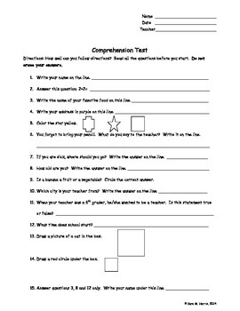 Trick Comprehension Test for Following Directions