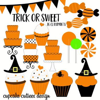 Trick Or Sweet Halloween Candy Digital Clip Art Elements