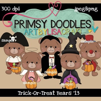 Trick-Or-Treat Bears 300 dpi Clipart