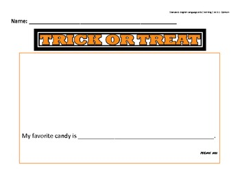 Trick Or Treat Kindergarten Writing Opinion Prompt for Common Core W.K.1