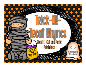 Trick- Or Treat Silent E {Rhyming Worksheets}