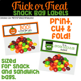 Trick Or Treat Snack Bag Labels / Halloween Favor Tags / T